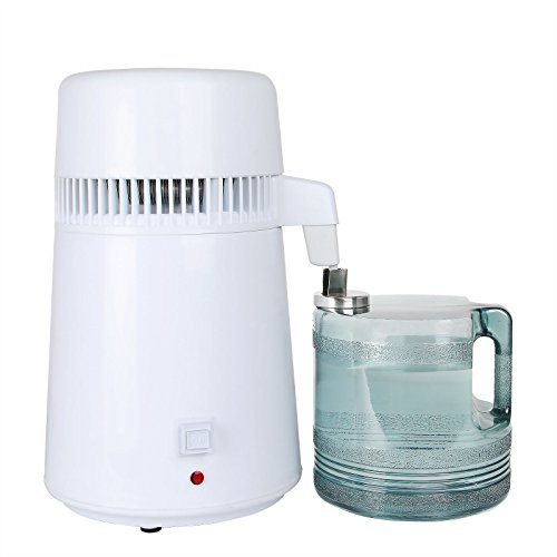 Husuper HR-1 Wasser Destilliergerät 4L Purifier Reines Wasser Distiller Filter Wasserdestillation Interner Edelstahl mit Sammlung Flasche 220V (HR-1)