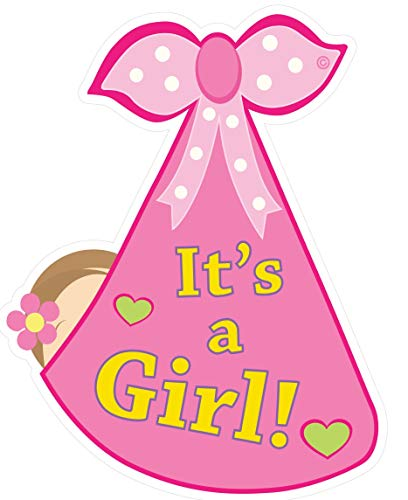Cute News It's a Girl Baby Door Decoration Sign - Welcome Stork Birth Announcement Hanger - Hospital Newborn Keepsake Wreath - Shower Art - Gender Reveal - Pink