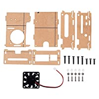 For Raspberry Pi 4B Acrylic Case, Heat Sink, Cooling Fan Adapter Pi 4 B Accessories Kit