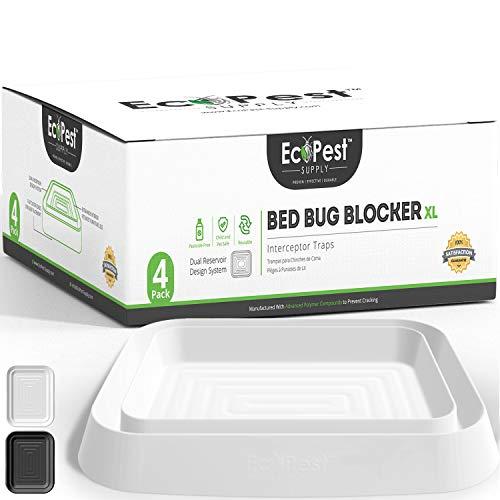 ECOPEST Interceptores de Chinches – Paquete de 4 | Bed Bug Blocker (XL) Trampas Interceptoras (White)