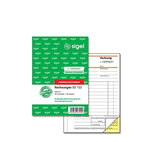 SIGEL SD133 Rechnungen fortlaufend nummeriert, A6, 2x50 Blatt, selbstdurchschreibend