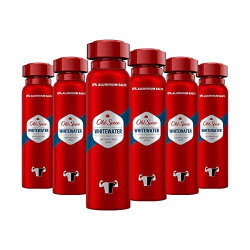Old Spice Whitewater Deodorant Bodyspray | 6er Pack (6 x 150 ml) | Deo Spray Ohne Aluminium Für Männer | Männer Deo Mit Langanhaltendem Duft