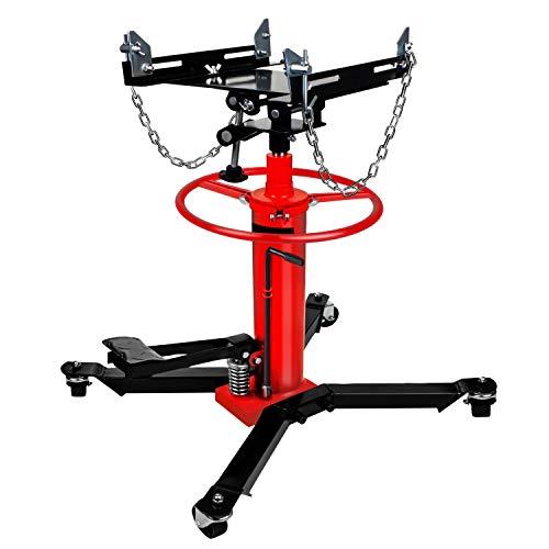 【US Spot】Transmission Jack,Hydraulic Garage/Shop Telescoping Transmission Floor Jack,1660 lbs Transmission Jack 2 Stage Hydraulic w/ 360° for car lift 0.75 Ton (Red)