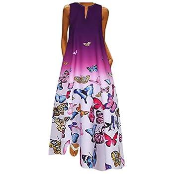 SSDXY Women Plus Size Butterfly Print Tie Dye Gradient Daily Sleeveless Vintage Boho V Neck Long Maxi Dress