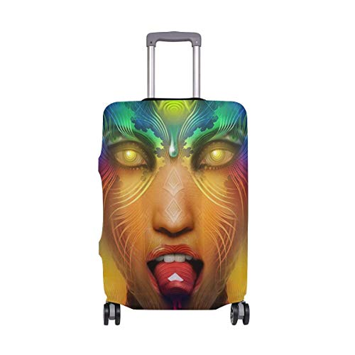 IUBBKI Travel Luggage Cover Science Fiction Art Woman Suitcase Protector Fits L Washable Baggage Covers