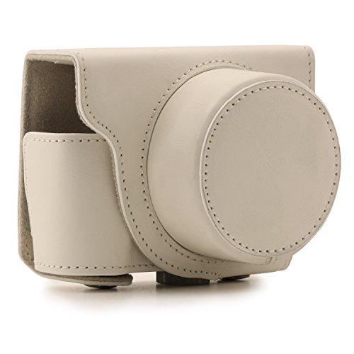 MegaGear - Bolsa de Cuero para cámara de Fotos Nikon 1 J5 (10-30 mm.) - Compact System - Color Blanco