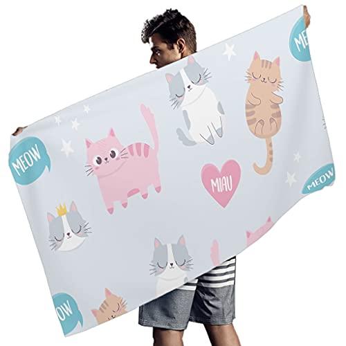 Ballbollbll Lindo dibujos animados gatos animales Toallas de playa para la fiesta de la música Conveniente Natación cubierta Ups para hombres mujeres blanco 150x75 cm