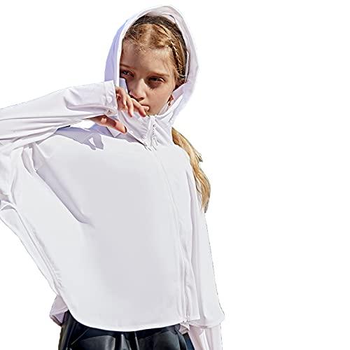 LUO Kids UV Protection Outerwear, Ropa De Protección Solar Chaqueta De Seda De Hielo, Ventilador De Verano Ropa De Protección Solar, Protección UV Upf40(Size:Height 125-135cm,Color:Blanco)