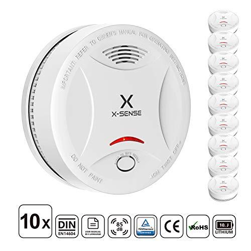 X-Sense Rauchmelder mit 10 Jahren Batterielaufzeit, TÜV und DIN EN 14604 geprüfter Rauchwarnmelder, Feueralarm mit fotoelektrischem Sensor | Verbesserte Ausführung, 10 Stück