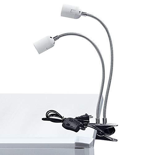 AmmToo クリップライト 電球なし 2灯式 E26 60W 100Wまで対応 両生類用ライト 爬虫類 亀ライト 譜面台ライト 譜面台LEDランプ グースネック 角度調整可能 スイッチ付き デスクライト LED 植物育成ライト用 電球ホルダー テーブルラ