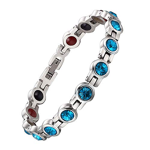 JHKJ Strength Magnetic Healing Bracelet,Stainless Steel Diamond Bracelet for Arthritis Pain Relief, Adjustable with Free Link Removal Tools,Blue