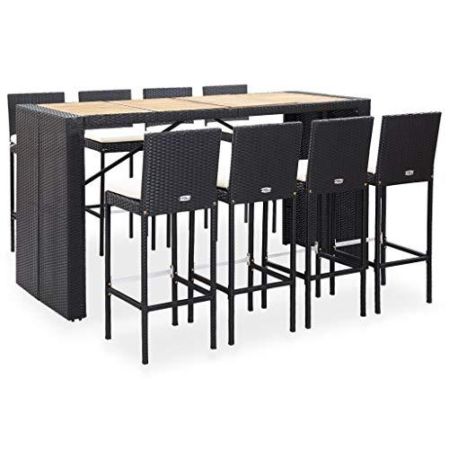vidaXL Bois d'Acacia Mobilier de Bar 9 pcs Salon de Jardin Mobilier de Patio Table et Chaises de Salle à Manger Terrasse Résine Tressée Noir