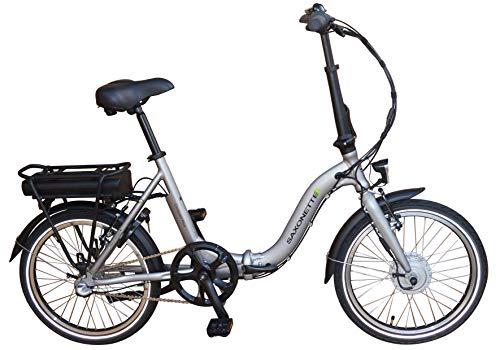 SAXONETTE Compact Plus Faltrad Klapprad E-Bike Pedelec Vorderradmotor 7,8Ah 250W 36V Lithium-Ionen Akku Shimano 3Gang Nabenschaltung mit Rücktritt (Silber)