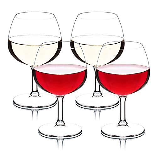 Copas de vino de plástico robustas, copas de vino tinto, gafas clásicas para camping familiar, caja fuerte para lavavajillas, free BPA, 250 ml, conjunto de dos pieza B250ML