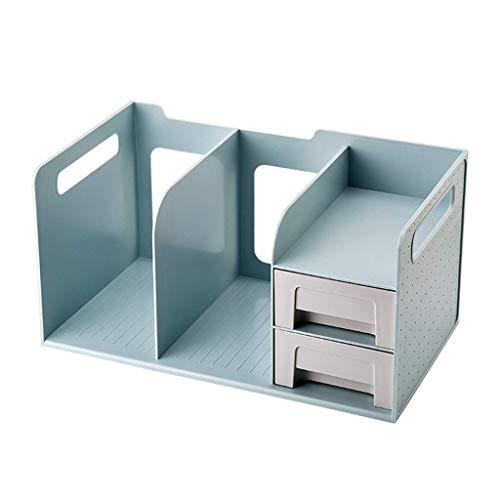 HyiFMY Estante de Escritorio de Oficina con 2 cajones Mostrar Escritorio Estante Organizador Oficina Almacenamiento Botter Bookcase Suministros de Oficina Decoración (Color: Azul) (Color : Blue)