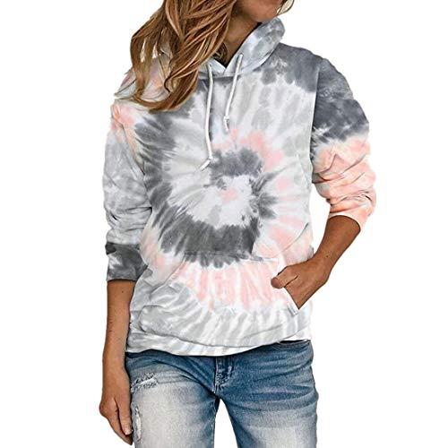 Pullover Damen Elegant Langarm Hoodie Buntes Batik Kordelzug Taschen All-Match Bequem Kurzes Sweatshirt Herbst Winter Neu Sport Business Casual T Shirt Top S