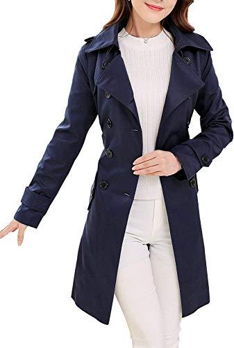 NANJUN WOMEN`S DOUBLE-BREASTED TRENCH COAT CLASSIC LAPEL OVERCOAT SLIM OUTERWEAR WINDPROOF COAT BELT BUCKLE(INDIGO 2)