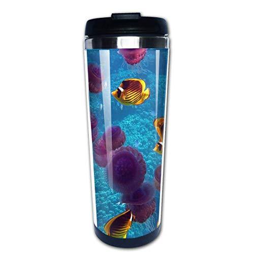 Kaffee Reisebecher Kaffeetassen Kaffeetassen mit Deckel Edelstahl Isolierbecher Fisch Quallen Unterwasser schwimmen nach Maß