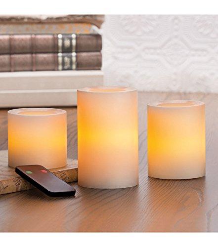 """Inglow Flameless Pillar Candle 3"""", 4"""" Cream"""
