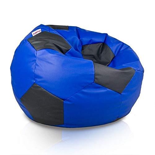 Italpouf Puf Balón de fútbol para niños - Puf de piel sintética - Puf para aficionados - Puff - Balón de fútbol (40 x 60 cm de diámetro, interior)