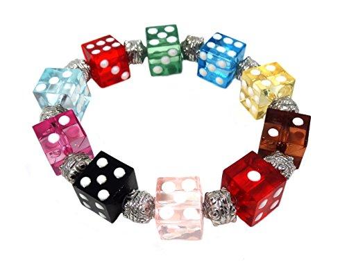Linpeng Multi Dice Beads Stretch Bracelet, Mix Color