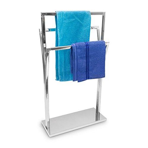 Relaxdays Porta Asciugamani con 3 Barre a Diverse Altezze, 86 X 50 X 20 cm, Metallo, Argento