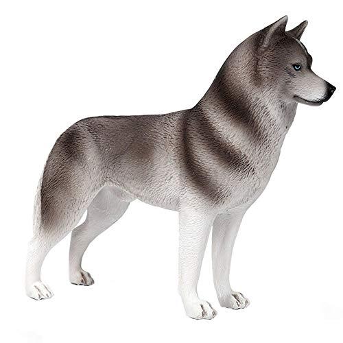 FLORMOON Husky Gris Figura - Realista Figuras Animales Figura Perro - Juguetes educativos tempranos Proyecto de Ciencias Navidad Cumpleaños niños y niñas