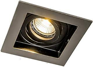 Qazqa Spot à encastrer   Éclairage intégré Moderne - Carree Lampe Acier - GU10 - Convient pour LED - 1 x 50 Watt