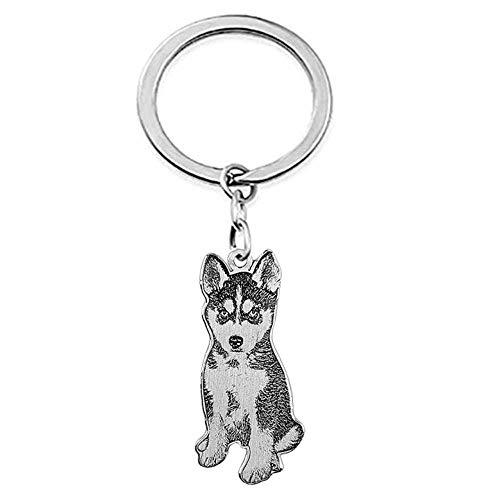 Junmei Personalisierte Haustier Foto Keychain, Custom gravierte Porträt Titan Stahl Schlüsselanhänger für Memorial Vatertagsgeschenk