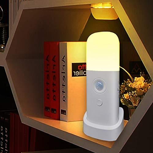 CREWEEL Motion Sensor Night light, Dimmable Night Lights with 5 Brightness Levels, 2000mAh Rechargeable Battery Operated Light, Portable Motion Sensor Light for Kids Room, Bedroom, Hallway(Warm Light)