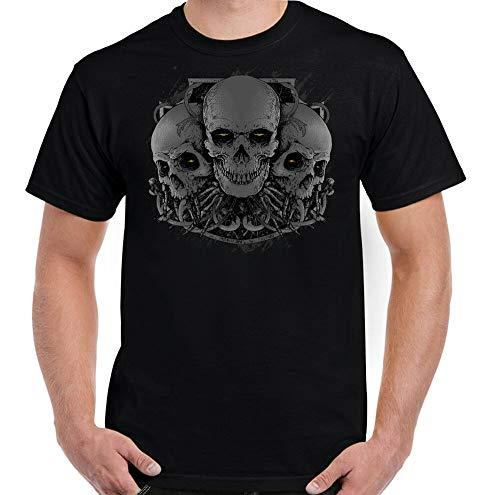 3 Skulls Heren T-Shirt Biker Tattoo Motorfiets Gothic Heavy Metal Rock