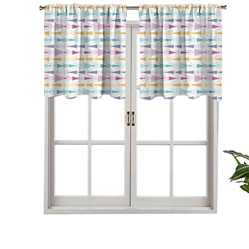 Hiiiman Small Kitchen Window Curtains Valances Ikat Style Textured Geometric Arrow Stripes Tribal Inspired Soft Paste, Set of 1, 50'x18' for Kitchen Bathroom and Cafe