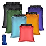 SASFOU 6 Pack Waterproof Dry Sacks,Lightweight Outdoor Dry Bags Ultimate Dry Bags for Kayaking, Rafting, Boating, Hiking, Camping (1.5L+2.5L+3L+3.5L+5L+8L)(Colorful)