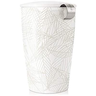 Tea Forte Kati Cup, Blanche, Ceramic Tea Cup with Infuser and Lid for Steeping Loose Leaf Tea