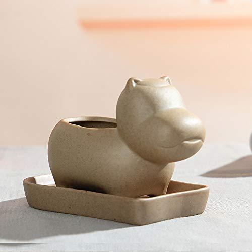 Sculptuur beeldje kleine sculptuur, hippo vetplantenpot keramiek decoratieve keramische bloemen eigenschap ornament ambachtelijke kunst in de tuin werken verbruiksartikelen accessoires decoratie geschenken