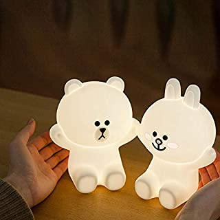 Ins Hot Creative Line Friend Brown Bear Cony Rabbit LED Night Light USB Charge Silicone Baby Sleeping Lamp Cartoon Decorative Table Lamp Christmas Gift for Kids Baby Girl Boy (Cony Rabbit)
