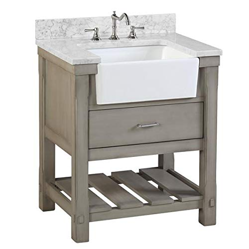 Charlotte 30-inch Bathroom Vanity (Carrara/Weathered Gray): Includes Weathered Gray Cabinet with Authentic Italian Carrara Marble Countertop and White Ceramic Farmhouse Apron Sink