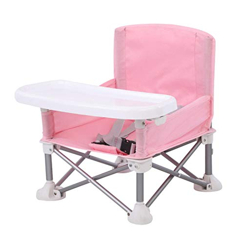POHOVE Children Dining Chair Baby Lawn With Tray Travel Camping ghchair Portable Foldable Beach Detachable Adjustable Strap Booster Seat ting Aluminum Alloy(Pink)