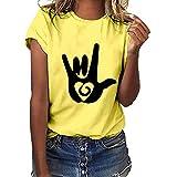 TUSANG Women Tees Plus Size Love Gesture Printed Short Sleeve T-Shirt Tops Loose Fit Slim Comfy Tunic(Yellow,US-8/CN-L)