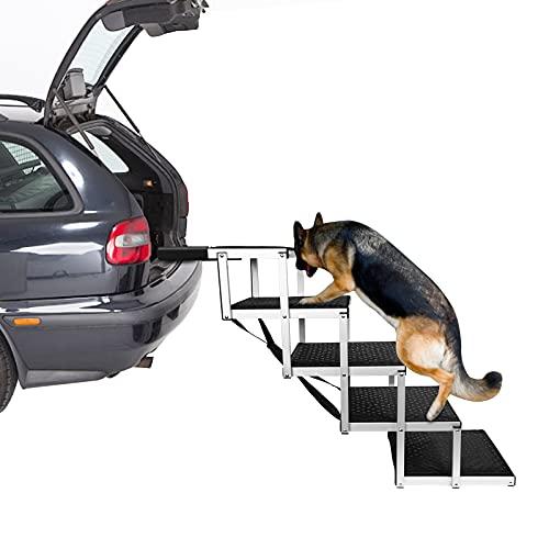 ETE ETMATE Rampa para Perros portátil, rampa para Mascotas Plegable, escaleras para Perros medianos y Grandes, Antideslizante, Ideal para Coches, Camiones y SUV (5 Pasos)