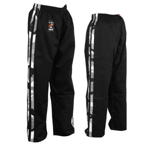 Playwell Pantalon d'arts Martiaux et de Full-Contact - 100% Coton - Noir/Bandes Style Camouflage - Taille 2/150CM