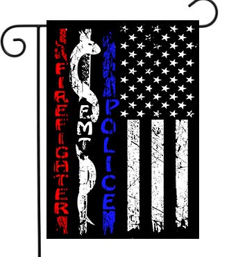 DZGlobal Garden Flag Police & Firefighter & EMT Flag First Responder American Flag Thin Blue White Red Line for Yard Outdoor Decor 12 x 18 Double Sided