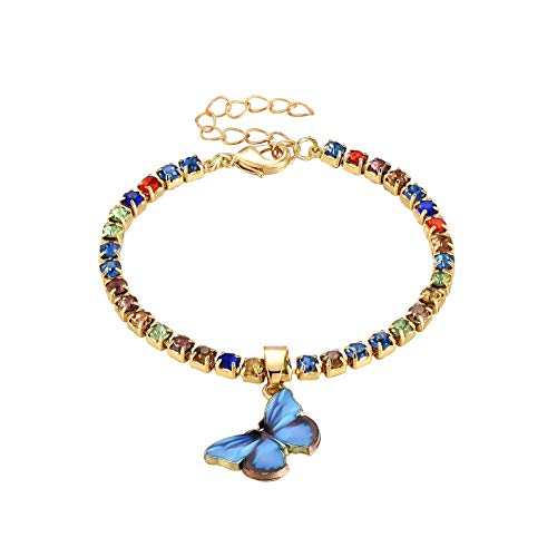 jieGorge Tobillera, Occident Fashion New Alloy Color Rhinestone Butterfly Trend Ladies Tobillera, joyería para mujeres regalos (como se muestra)