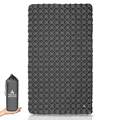 Hikenture Ultralight Double Sleeping Pad for Camping, Portable Waterproof Camping Pad with Pump Sack, Inflatable Comfort Camping Mattress 2 Person, Ripstop Sleeping mat for Backpacking