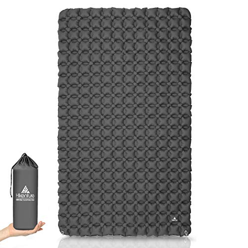 Hikenture Ultralight Double Sleeping Pad for Camping, Portable Waterproof Camping Pad with Pump Sack, Inflatable Comfort Camping Mattress 2 Person, Ripstop Camp Sleeping mat for Backpacking, Gray