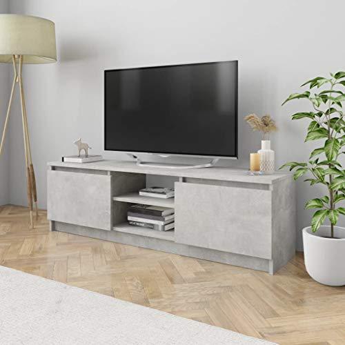 UnfadeMemory Mueble para TV Moderno,Mesa para TV,Mueble de hogar,con 2 Cajones y 2 Compartimentos Abiertos,Estilo Clásico,Madera Aglomerada (Hormigón Gris, 120x30x35,5cm)