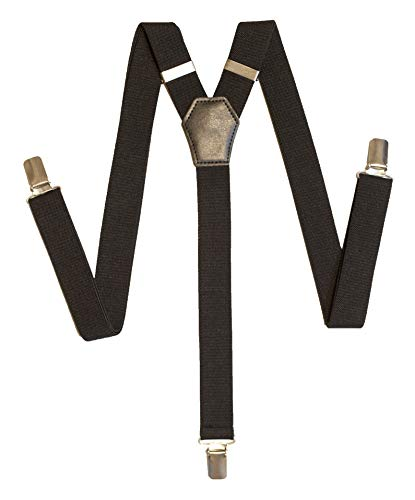 Suspenders for Women - 1 Inch Width - Y Back Style - Adjustable Straps and Clips by FOREER (Black, 1)