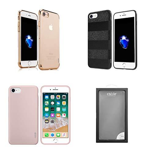 Cable Technologies Tempo di Saldi, Outlet Combo Cover iPhone 7/8/SE 2020, 3 Cover+1 Vetro Protettivo (Girl's Pack)