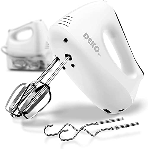 DEKOPRO Hand Mixer Electric Power 5-Speed with Snap-On Storage Case,4 Stainless Steel Accessories for Easy Whipping, Mixing Cookies, Brownies, Cakes, and Dough Batters
