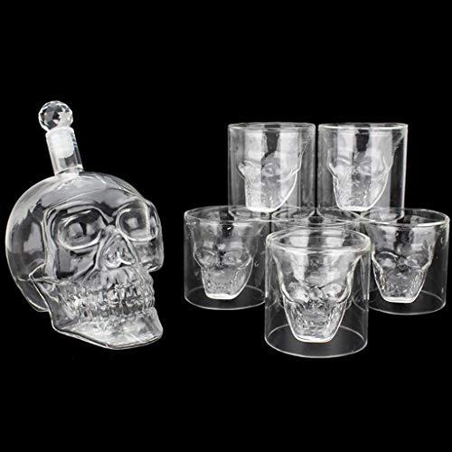PIVFEDQX Skull Garrafa Cristal 700 Ml Vasos De Chupito Juego De Whisky Garrafa Decanter con 6 Copas De 75 Ml Vino Vodka